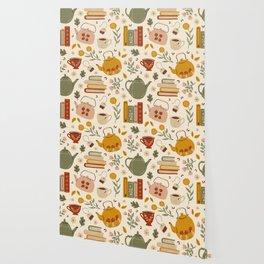 Flowery Books and Tea Wallpaper