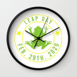 Leap Year February 29th 2020 Frog Leap Day  Wall Clock