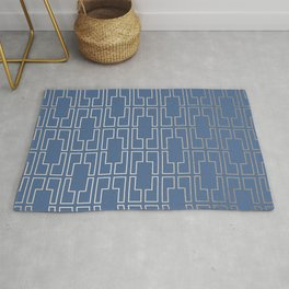 Simply Mid-Century in White Gold Sands and Aegean Blue Rug