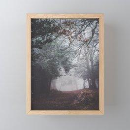 Dark fog forest Framed Mini Art Print