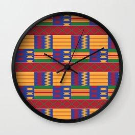 Bright Kente Cloth 2 Wall Clock