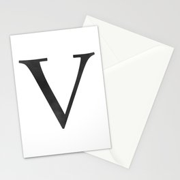 Letter V Initial Monogram Black and White Stationery Cards