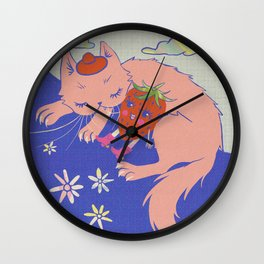 Pink Kitten with a Strawberry Retro 60s Psychedelic Art Wall Clock