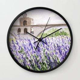 Lavenders Field and Bridge in Avignon Wall Clock