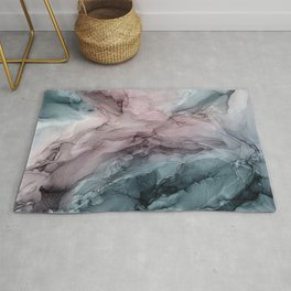 Blush Mauve & Stormy Blue Flow Abstract 3 Rug