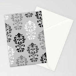 Heart Damask Art I Ptn Black White Greys Stationery Cards