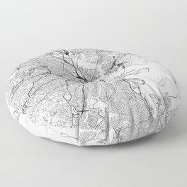 Boston White Map Floor Pillow