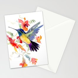 Hummingbird, floral bird art, soft colors Stationery Cards