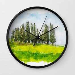 Aquarelle sketch art. Beautiful spring minimalistic landscape with Italian Cypress on the green hill Wall Clock