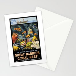 1933 Australia Great Barrier Coral Reef Travel Poster Stationery Cards