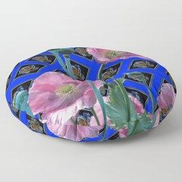 PINK GARDEN POPPIES ON BLUE PATTERNED ART Floor Pillow