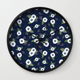 Anemone Floral Pattern Navy Blue Wall Clock