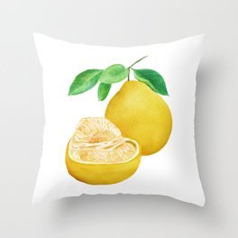 Watercolor Illustration of Pomelo Throw Pillow