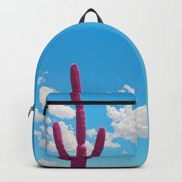 Pink Saguaro Against Cloudy Blue Sky in Arizona Backpack