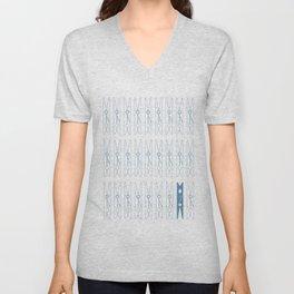 White Clothespins print Unisex V-Neck