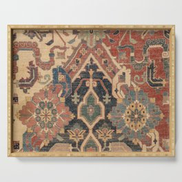 Geometric Leaves I // 18th Century Distressed Red Blue Green Colorful Ornate Accent Rug Pattern Serving Tray