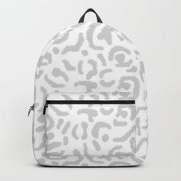 Grey Leopard Skin Print Gray White Cheetah Cat Pattern Backpack