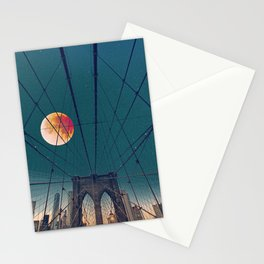 Blood Moon over the Brooklyn Bridge and New York City Skyline Stationery Cards