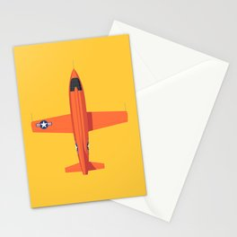 X-1 Mach Buster Rocket Aircraft - Orange Yellow Stationery Cards
