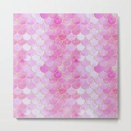 Pink Pearlescent Mermaid Scales Pattern Metal Print