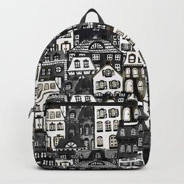 Mansard Village in Black + White Watercolor Backpack