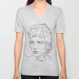 Bob Dylan WordsPortrait  Unisex V-Neck