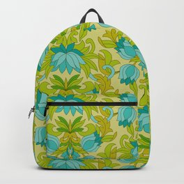 Turquoise and Green Leaves 1960s Retro Vintage Pattern Backpack