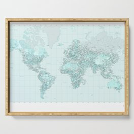 World Map Landscape Serving Tray