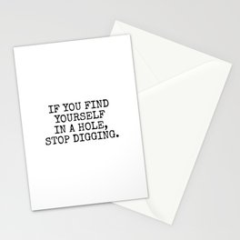 if you find yourself in a hole, stop digging - vintage typewriter Stationery Cards