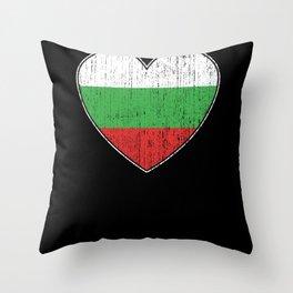 Bulgaria Flag Love Heart Throw Pillow