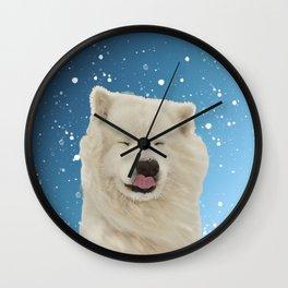 Samoyed Funny Face Winter Snow Wall Clock