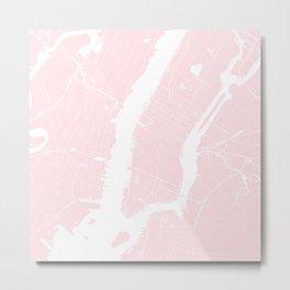 New York City Pink on White Street Map Metal Print
