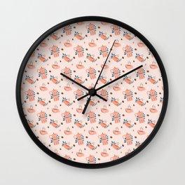 Coffee & Caffeine Lover Pattern Gift Wall Clock