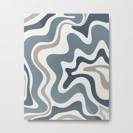 Liquid Swirl Abstract Pattern in Neutral Blue Gray on Off White Metal Print