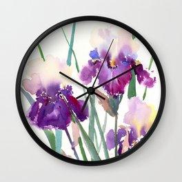 Irises, purple floral art, garden iris Wall Clock