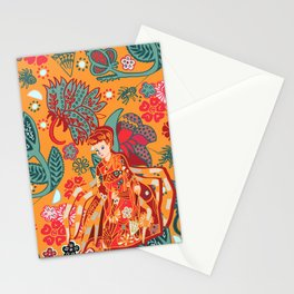 spiders and japanese yokai Jorogumo, orange background. Stationery Cards