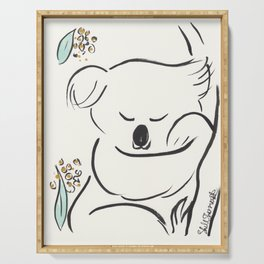 Sweet Koala in Tree with Green and Gold Serving Tray