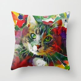 Eyes of Green Throw Pillow