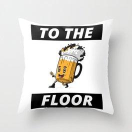 dancing beer mug cartoon Throw Pillow