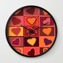 Hearts in squares print in pink, purple and yellow Wall Clock