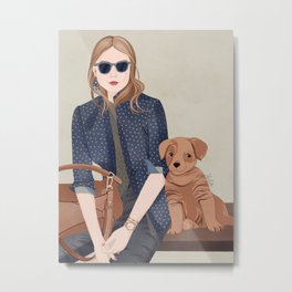 Lady In A Blue Blazer With A Puppy Metal Print