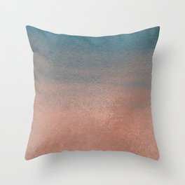 Abstract peacock blue coral ombre watercolor Throw Pillow