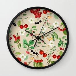 Cherries On Beige Background Wall Clock