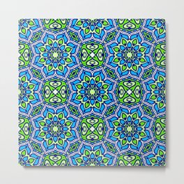 Colorful Folklore Ethnic Patterns Metal Print