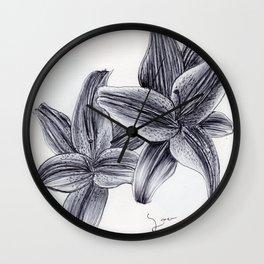 BALLPEN FLOWERS  Wall Clock