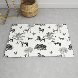 Vintage horses black and white pattern  Rug