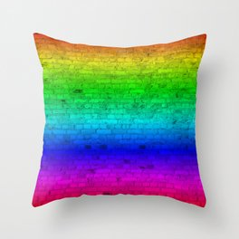 Bright Neon Rainbow Color Wheel Spectrum Brick Wall Throw Pillow