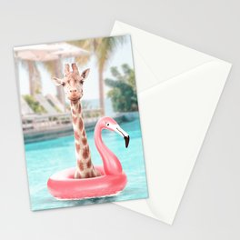 Giraffe in a swimming pool Stationery Cards