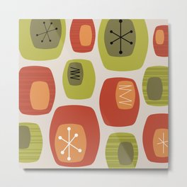 Mid Century Modern Oblongs Orange Chartreuse Metal Print