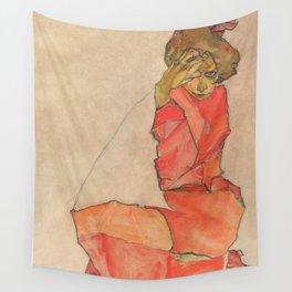 Egon Schiele - Kneeling Female in Orange-Red Dress Wall Tapestry
